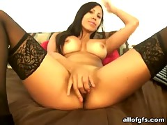 Delicious busty girlfriend in stockings masturbates