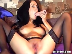Ex busty GF drills her shaven twat with a dildo