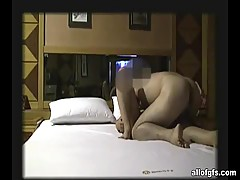 Pretty and hairy asian girlfriend in hardcore sex action