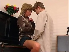 Older Female Piano Teacher Dominates teen bf