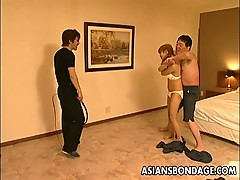 Hot chinese bondage masturbation scene