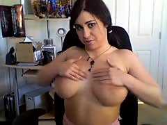 Jerk on my enormous breasts
