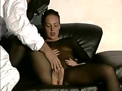 Brunette in bodystocking gives oral sex and gets drilled