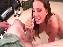 Pretty Dark hair Renna Ryan's Face Gets Cream-glazed