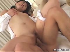 Japanese babe drilled hard at home uncensored