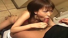 Pretty Japanese babe swallows cock uncensored