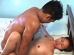 Cute chinese young hammered in the shower