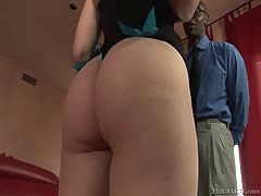 Dirty foxy Ariel Stonem doing oral sex over black dong