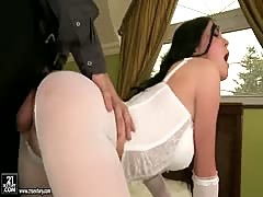 Pretty anal scene with a stunning babe in stockings Alma Blue and her fucker