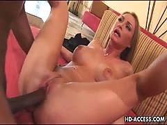 Yellow-haired takes anal plugging from ebony meat