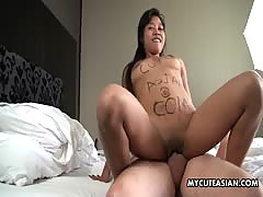 My cute Asian with shaved pussy takes huge cock