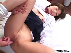 Cute Japanese schoolgirl gets fucked hard uncensored