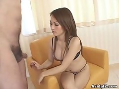 Hot Japanese babe gives tit job follwed by cumshot Uncensored