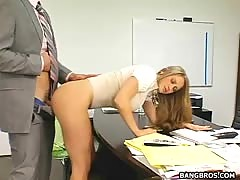 Yellow-haired secretary bent over her desk and plowed